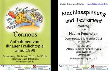 Zwei Plakate weisen auf Veranstaltungen hin