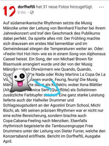 Dorfheftli Bericht zum Konzert der Musik Mänzike
