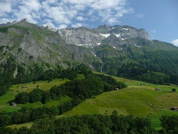 Blick von Elm Richtung Mittetaghorn, Zwölfihorn und Vorab, Elm, GL