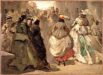 Constantin Guys, Dans la rue, vers 1860.