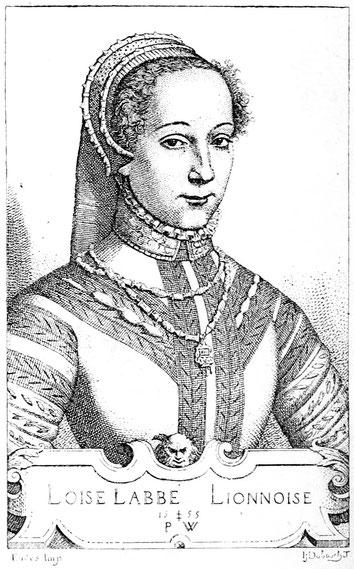 Louise Labé, portrait gravé par Pierre Woeiriot (1555), BNF.