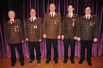 v.l.: BI Anton Stauder, OBI Martin Kofler, OBI Erich Wurzer, OBI Georg Crepaz und OBI Martin Tanzer