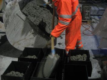 Herstellung von Betonproben