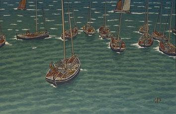 Henri Rivière (1864-1951), « Bateaux au mouillage à Tréboul », 1902, lithographie / courtesy Galerie Gloux
