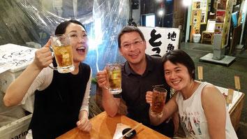 Tempuraessen mit Mariko...ist kein Bier, nur eiskalte Tee...