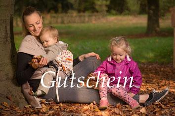Gutschein für die Huckepack Babytragen, Geschenk zur Geburt