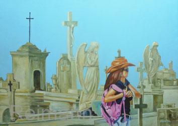 Ölbild mit Frau und Friedhof auf Cuba