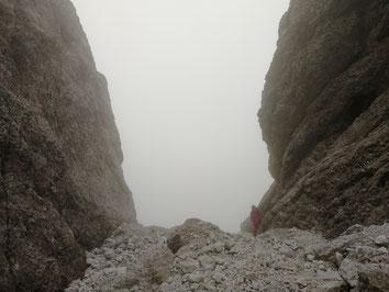 Abstieg, Cima della Madonna, letzte Abseilstelle