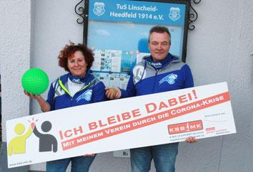 v.l. Silvia und Jens Stein (Vorsitzender TuS Linscheid-Heedfeld)