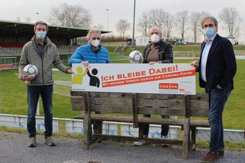 Joerg Pantring (2. Vorsitzender FC Iserlohn), Günther Nülle (KSB MK), Ernst Greve (Geschäftsführer FCI) und Jens Breer (1. Vorsitzender FCI)