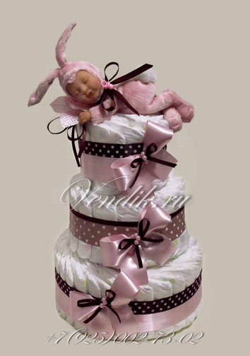 """Торт из памперсов для девочки """"Зайчонок"""" из коллекции """"Шоколадные сны"""""""