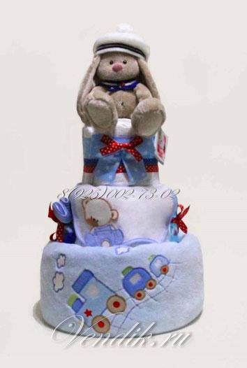 """• Торт из памперсов и детских вещей """"Зайчонок путешественник"""""""