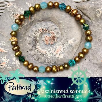 www.perltrend.com  Suesswasser Perlen coffee ocean summer feeling Armband Bracelet Armschmuck Swarovski grün türkis Schmuck Jewellery Jewelry Perltrend Onlineshop Luzern Schweiz
