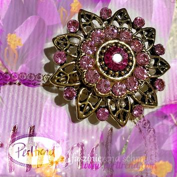 www.perltrend.com Brosche Vintage Pink Crocus Spring Flower antik goldfarben rosa Crystals Trend Brooch Schmuck Jewellery Jewelry Ansteckschmuck Perltrend Luzern Schweiz Onlineshop
