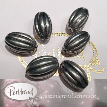 www.perltrend.com Perlen Silberfarben diverse Formen oval lang olive silber rillen Luzern Schweiz Online Shop
