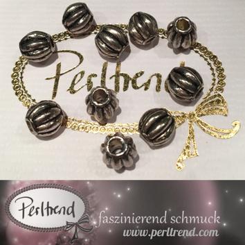 www.perltrend.com Perlen Silberfarben Rillen Rillenperlen silber 10mm