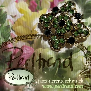 www.perltrend.com Brosche Vintage Green Spring  antik goldfarben grün Crystals Trend Brooch Schmuck Jewellery Jewelry Ansteckschmuck Perltrend Luzern Schweiz Onlineshop