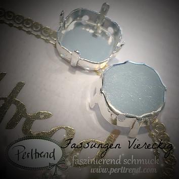 www.perltrend.com Luzern Schweiz Onlineshop Schmuck Jewellery Jewelry Design Style Schmuckdesign Fassung Viereckig viereck Swarovski Crystals versilbert silberfarben gold antik goldfarben