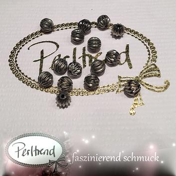 www.perltrend.com Perlen Silberfarben Rillen Rillenperlen silber 6mm
