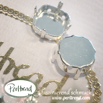 www.perltrend.com Luzern Schweiz Onlineshop Schmuck Jewellery Jewelry Design Style Schmuckdesign Fassung Viereckig viereck Swarovski Crystals versilbert silberfarben