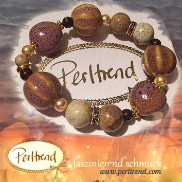 Perltrend Luzern Schweiz Onlineshop www.perltrend.com Schmuck Armschmuck Armband Vintage purple beige Pumpkin Love