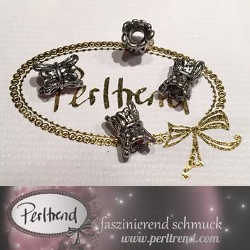 www.perltrend.com Perlen silberfarben Röhren Röhre Roehre verziert antik silber ornament Muster Schmuck Verarbeitung basteln Luzern Perltrend Schweiz Online Shop diverse Formen
