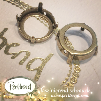 www.perltrend.com Luzern Schweiz Onlineshop Schmuck Jewellery Jewelry Design Style Schmuckdesign Fassung Rund Swarovski Crystals antik goldfarben gold
