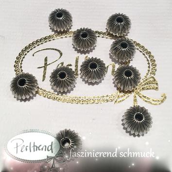 www.perltrend.com Perlen Silberfarben Rillen Rillenperlen silber 12mm