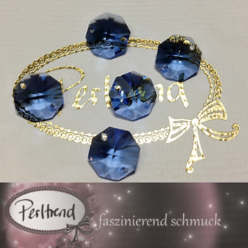 www.perltrend.com Swarovski Strass Collection Octagon Achteck Schmuck Dekoration Leuchter Lüster Chandelier Crystal blue