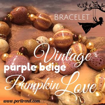 www.perltrend.com Armschmuck Vintage purple beige Pumpkin Love