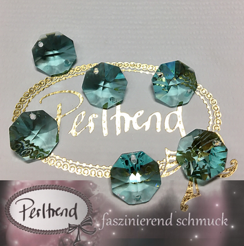 www.perltrend.com Swarovski Strass Collection Octagon Achteck Schmuck Dekoration Leuchter Lüster Chandelier Crystal antik green grün