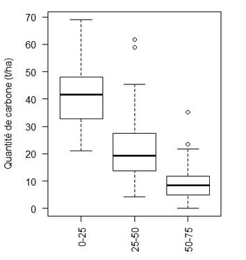 Stocks de carbone par horizon de sol (échantillons t1 et t2 confondus)
