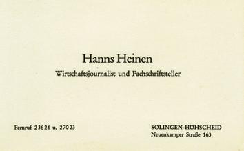 Visitenkarte von Hanns Heinen