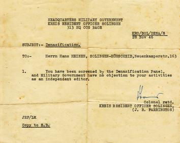Entlastungszeugnis Hanns Heinen, 1948