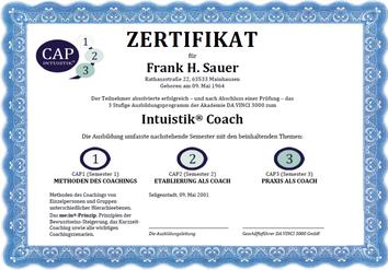 Zertifikat, welches nach Abschluss der gesamten Ausbildung zum Coach überreicht wird