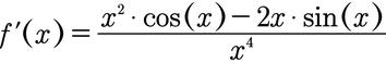 Beispiel für das Einsetzen in die Formel der Quotientenregel beim Ableiten.