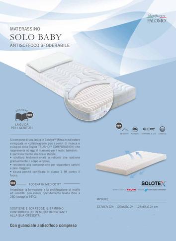 Materasso baby bebè bimbo neonato lattante lettino antisoffoco anallergico sfoderabile solotex culla