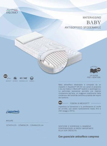 Materasso baby bebè bimbo neonato lattante lettino antisoffoco anallergico sfoderabile aquatech culla