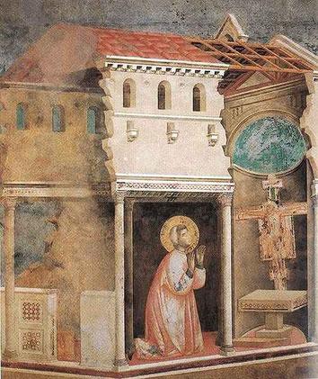 """Francesco hörte den Herrn rufen: """"Geh und bau meine Kirche wieder auf""""        Klara unterstützt ihn dabei."""