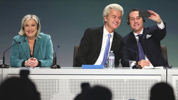 Die Führerin des Front National, Marine Le Pen, der Niederländer Geert Wilder und Österreichs Heinz-Christian Strache (FPÖ) © Matteo Bazzi/EPA/dpa