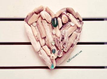 driftwood heart, corazón madera, cristales de mar, artesanía, vymcreaciones, decoración ecológica, etsy shop. decoración rústica
