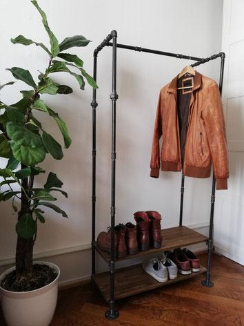 Vintage Design Rohrgarderobe Industrial Garderobenstange mit Schuhablage Steampunk Kleiderständer als Garderobe aus Eisenrohren