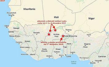Nella mappa i luoghi degli attentati jihadisti del 1° dicembre a minoranze cristiane  e nella notte tra il 2 e 3 dicembre 2019 a distretti militari