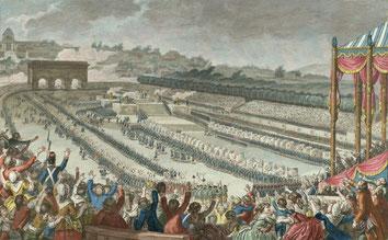 La fête de la Fédération, le 14 juillet 1790 – Dessin de Charles Monnet.