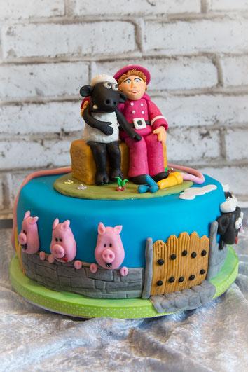 Shaun Torte mit Schweinchen und Feuerwehrmann Sam