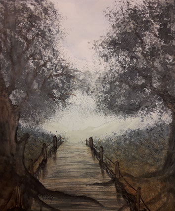 Kunst, Aquarell, Mario Vetter, Weg, Allee, Bäume, Wald, Lichtung