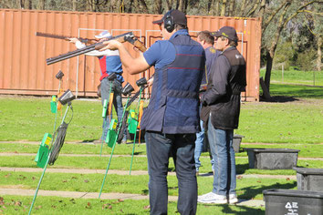 Peter Cavedon (foreground) prepares to shoot