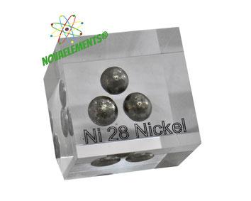 nickel acrylic cube, nickel spheres, nickel metal pellets, nickel metal cube, nickel metal for element collection, nickel metal sample for display