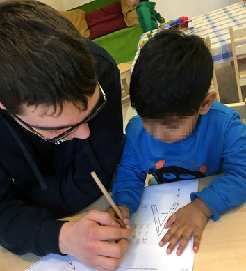 Bei der Arbeit im deutschen Kindergarten
