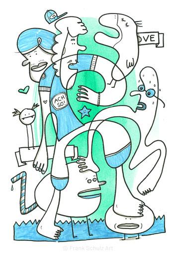 Vom Berliner Künstler Frank Schulz gezeichnete Figuren in blau-grün.